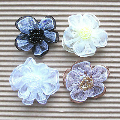 """US SELLER - 32x 1.25"""" 2-Layer Organza Ribbon Flower Appliques w/Beads ST429M"""