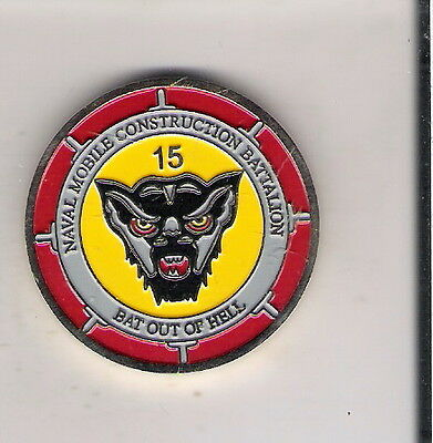 Challenge Coin Us Navy Naval Mobile Construction Battalion Bat Out Of Hell Linco