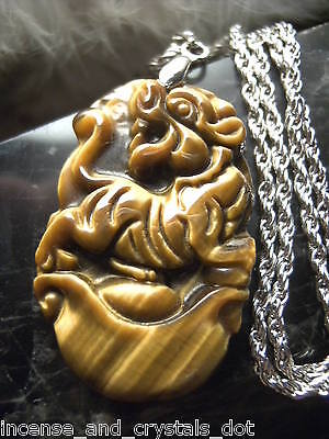 TIGER EYE Hand Carved Chinese Zodiac 35mm Pendant/Chain.Year Of The TIGER