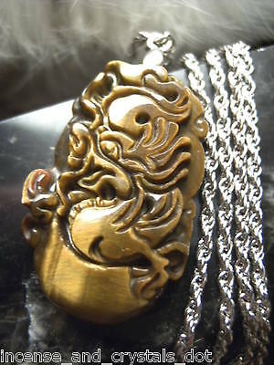 TIGER EYE Hand Carved Chinese Zodiac 35mm Pendant/Chain.Year Of The DRAGON