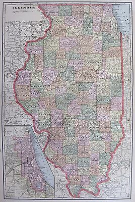 1901 Antique ILLINOIS MAP Vintage State Map of Illinois 1900s Collectible Map