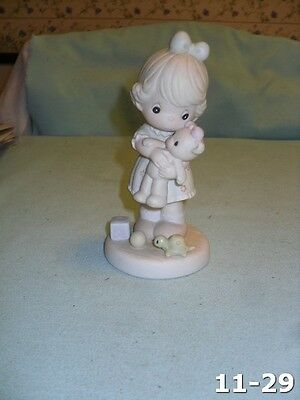 Vintage Girl With Teddy Bear Precious Moments 1993 Loving Members Only Figurine