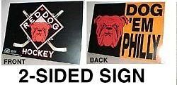 Red Dog Beer Hockey Dog 'em Philly Flyers Team Colors Sign Store Display