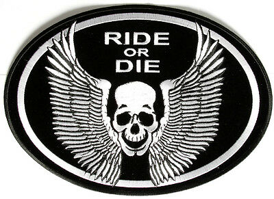 Ride or Die Skull Wings Embroidered Motorcycle NEW Biker MC BACK Patch LRG-0349