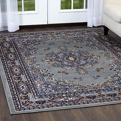 "PERSIAN SILVER GRAY AREA RUG 6 X 8 ORIENTAL CARPET 69 - ACTUAL 5' 2""  x  7' 4"""