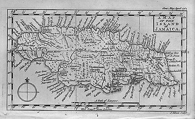 1762 Original Map Of The Island Of Jamaica By J. Gibson 1762 Vintage Jamaica Map