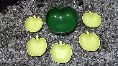 Vintage Mid Century Mod Apple Bowl Set Fruit Bowls Salad Hazel Atlas Chartreuse
