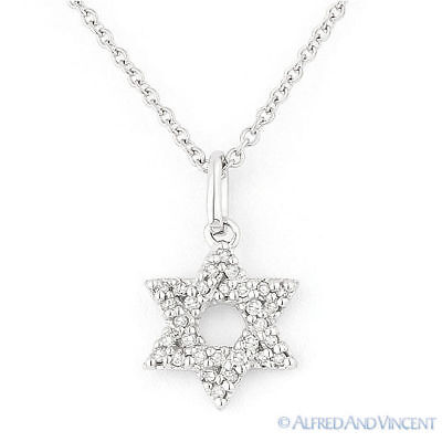 0.10ct Diamond Star of David Magen Judaica Charm Pendant 14k White Gold Necklace