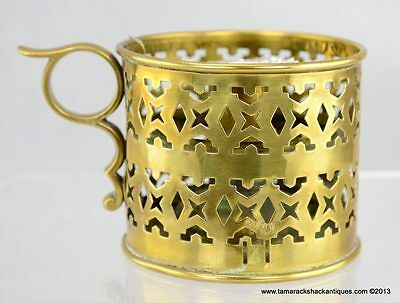 """Solid Brass Cup Shaped Handled Candle Finger Lamp Pierced Edge 3 3/4"""" Vintage"""