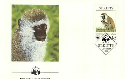 (72361) FDC  - ST.Kitts  - Monkey - 1986