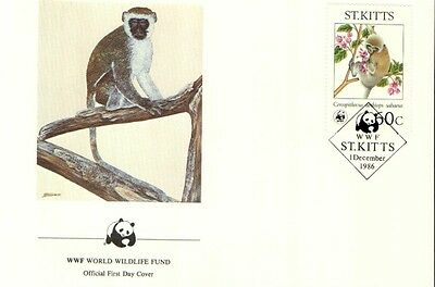 (72362) FDC  - ST.Kitts  - Monkey - 1986