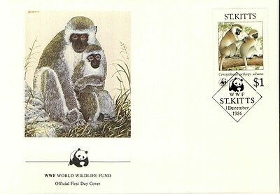 (72363) FDC  - ST.Kitts  - Monkey - 1986