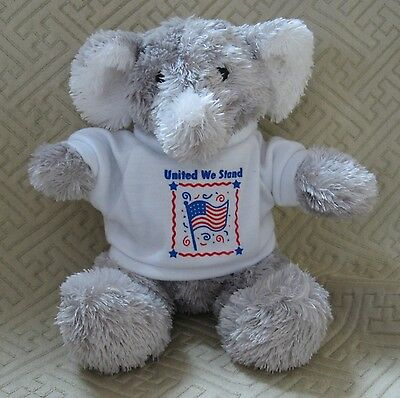 Princess Soft Toys Plush Elephant wearing T-Shirt United We Stand 8""