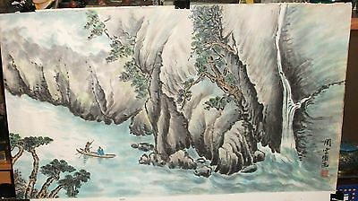 Chinese River Rafting Mountain Landscape Original Watercolor Painting Signed
