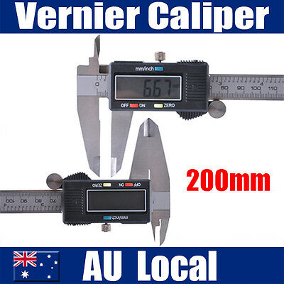 200mm Vernier Electronic Digital Stainless Caliper Micrometer Measuring Tool AUS