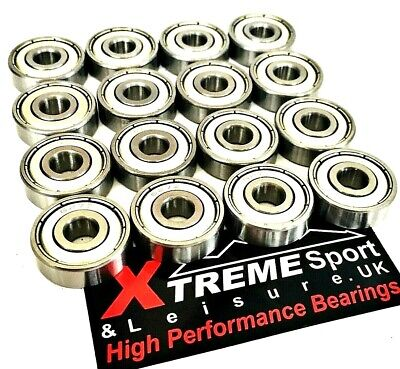 *16 pack 627 XTREME CLASSIC HIGH PERFORMANCE BEARINGS ROLLER SKATE INLINE QUAD