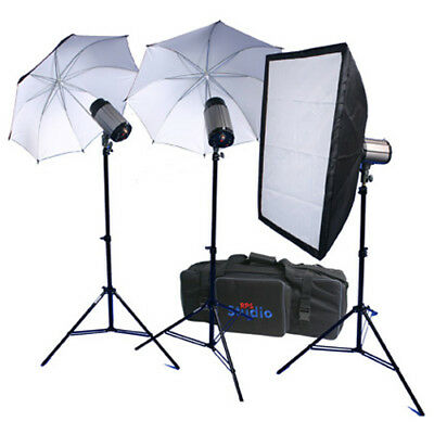 RPS Studio 3 Light Strobes Umbrella Stand + Softbox Kit