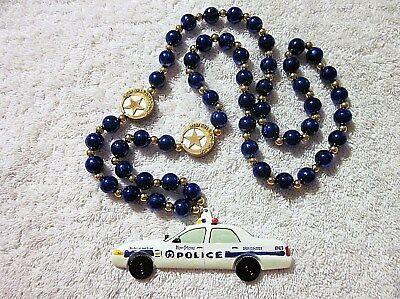 """""""new Orleans Police Car"""" Mardi Gras Necklace Bead Cop Nopd Officer Finest (B517)"""