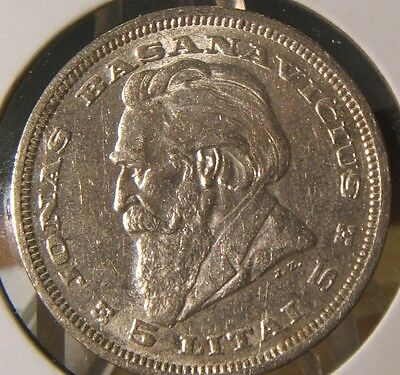 1936~~Lithuania~~Silver 5 Litai~~Bu-Unc Beauty~~Scarce
