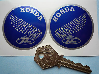 HONDA Motorcycle classic set of 2 handed BLUE 52mm stickers
