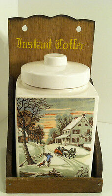 Vintage Japan Winter Scene Coffee Canister With Wood Wall Mount