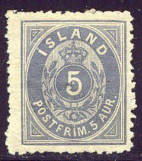ICELAND #8 Mint - 1876 5a Blue