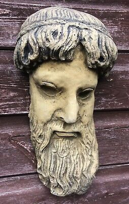 Zeus Greek God Face Sculpture decorative wall plaque stone garden ornament 34cmH