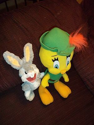 Lot Of 2 Looney Tunes Plush Doll Figures Tweety Bird As Robin Hood & Bugs Bunny