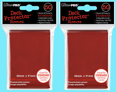 100 Ultra Pro RED DECK PROTECTOR Standard Size Card Sleeves NEW 2 packs game mtg