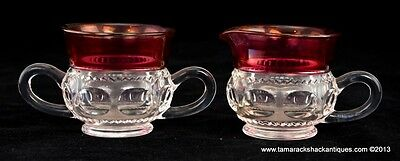 """Indiana Kings Crown Ruby Flashed Glass Creamer & Open Sugar Set Vintage 3"""" Tall"""