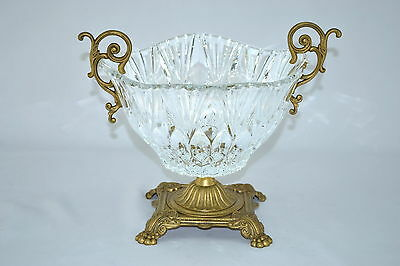 Crystal Clear with Gold base 9X10 inches ROUND SERVING BOWL