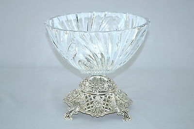 Crystal Clear with Silver base 9X9.5 inches ROUND SERVING BOWL