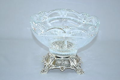 Crystal Clear with Silver base 7.5X9 inches ROUND SERVING BOWL