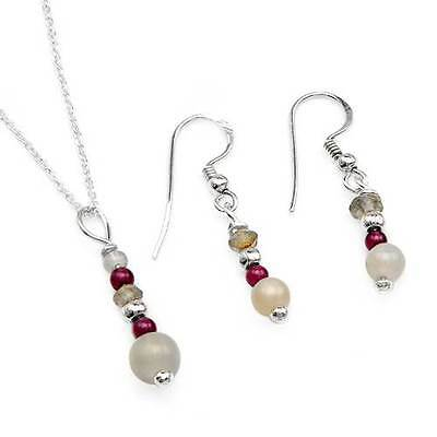Genuine Precious Stones Necklace & Earrings set made in 925 Sterling silver.