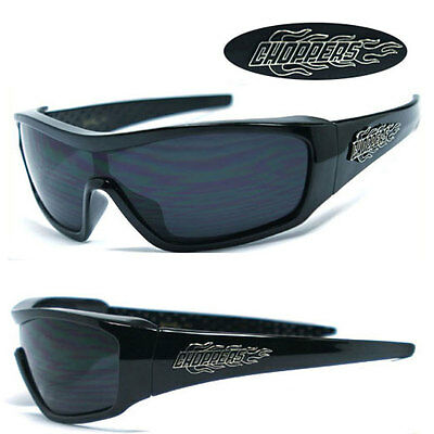 fc22548cc6e Choppers Flame Men Motorcycle Oversized Sport Wrap Around Sunglasses - Black  C40