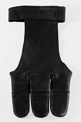 Black Leather Shooting Glove, Get A Clean Loose For Longbow