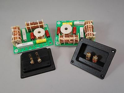 3 way Crossover Pair High Power 1000W RMS 8 Ohm 12 dB & Rectangle Terminal Cups
