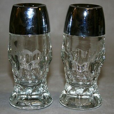 Thumbprint Pattern Glass Salt and Pepper Shakers Vintage Collectible Glassware