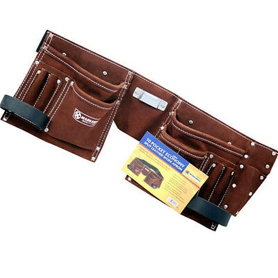 10 Pocket Double Split Suede Leather Tool Pouch Builders Bag Belt Storage Pouche