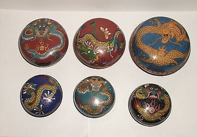 Six Piece Old 19Th Century Chinese Bronze Cloisonne Enamel Dragon Jar Box Set