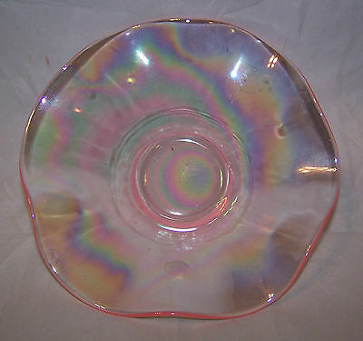 """Glass Bowl-Opalescent-Oil Slick Pattern-CLEAN-Pink Color-6"""" diam. Perfect! Nice!"""