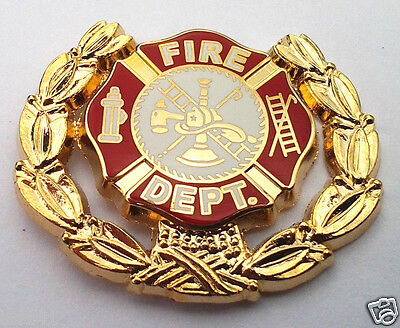 *** FIRE DEPT. LOGO WITH WREATH ***Hero Hat Pin P06902 HR