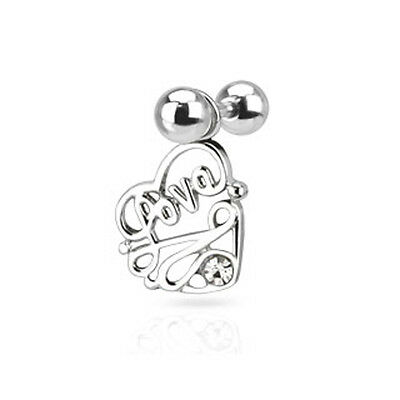 Surgical Steel Tragus/Cartilage Stud with CZ Love Heart Dangle