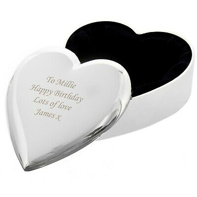 Personalised Fabric Lined Heart Trinket Box - Free Engraving - Wedding Ring Box