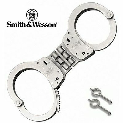 New Smith & Wesson Model 300 Nickel Finish Double Lock Hinged Handcuffs w/ Key
