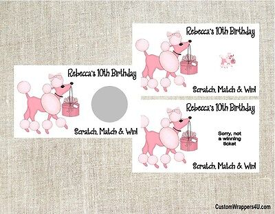 Pink Poodle Paris Birthday Party Scratch Off Tickets Cards Favors Personalized