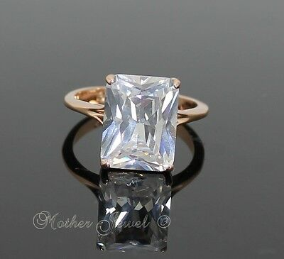 18Ct Rose Gold Gp Girls Ladies Big Emerald Cut Simulated Diamond Cocktail Ring