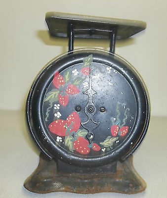Vintage Antique Strawberry Pattern Country Metal Decorated Scale