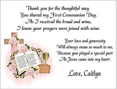 1st First Communion PINK OR BLUE Thank You Note Cards Personalized  Custom