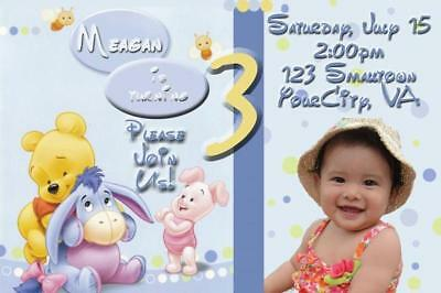 Baby Winnie the Pooh Custom Photo Birthday Invitation